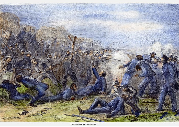 1864 Greeting Card featuring the photograph Fort Pillow Massacre, 1864 by Granger