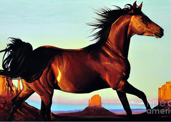 Monument Valley Greeting Card featuring the painting Freedom by Michael Stoyanov