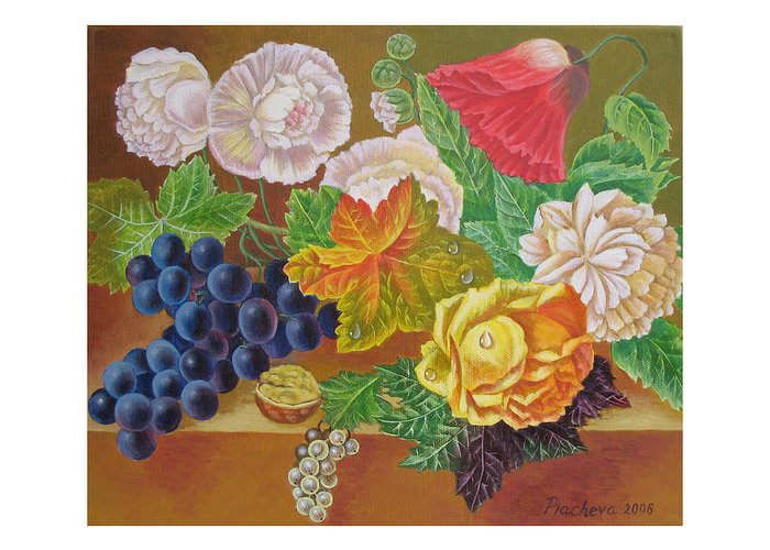 Still Life Greeting Card featuring the painting Fruits And Flowers II. 2006 by Natalia Piacheva