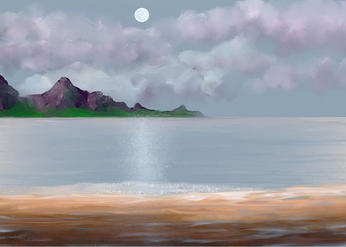 Seascape Greeting Card featuring the digital art Full Moon Seascape by Tony Rodriguez