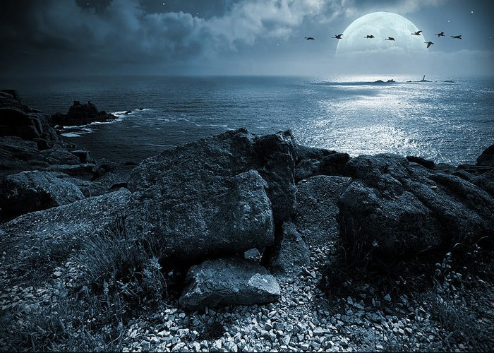 Beautiful Greeting Card featuring the photograph Fullmoon Over The Ocean by Jaroslaw Grudzinski