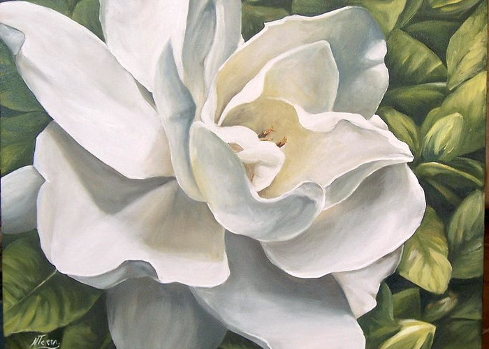 Flower Greeting Card featuring the painting Gardenia by Natalia Tejera
