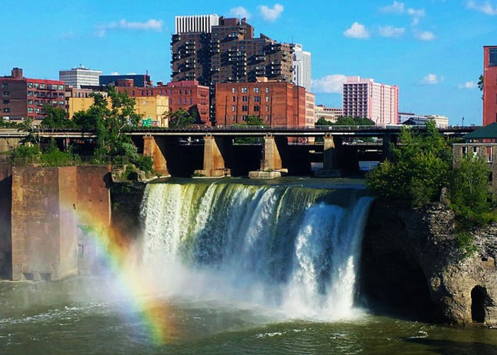 Rochester Ny Greeting Card featuring the photograph Genesee River Rainbow by Yvonne Scribani