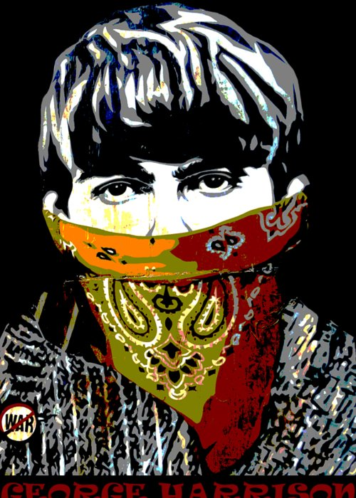 Banksy Greeting Card featuring the photograph George Harrison wearing a face mask by RicardMN Photography