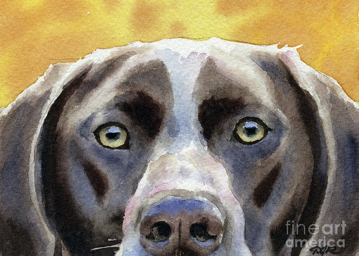 German Greeting Card featuring the painting German Short Haired Pointer by David Rogers