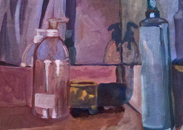 Still Life Greeting Card featuring the painting Getting Ready by Lauren Luna