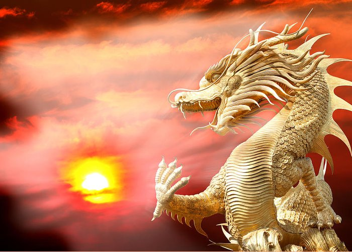 Red Greeting Card featuring the photograph Giant Golden Chinese Dragon by Anek Suwannaphoom
