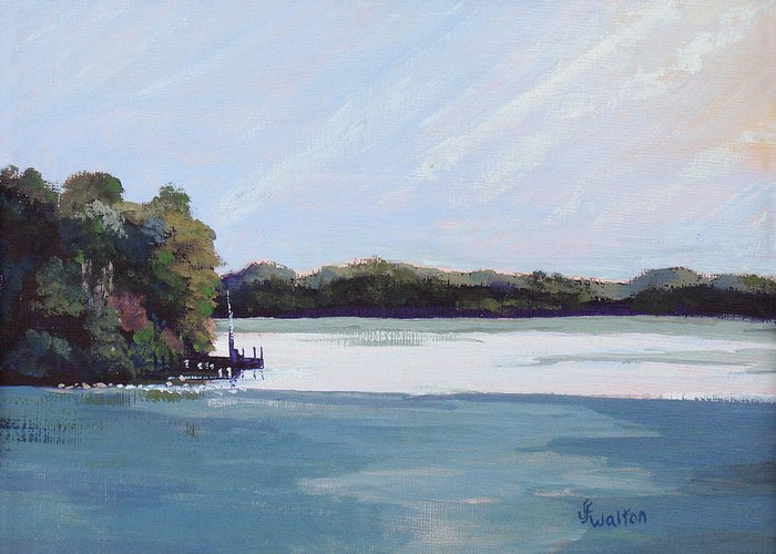 Landscape Greeting Card featuring the painting Gibralter Morn by Judy Fischer Walton