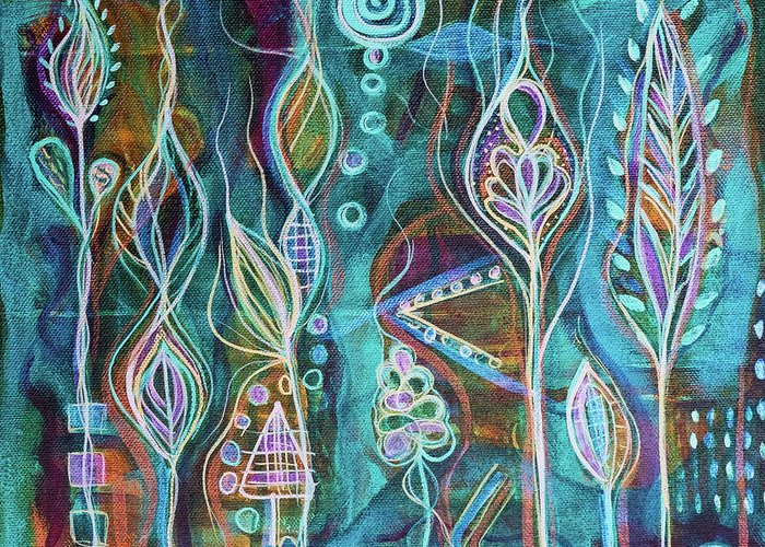 Intuitive Art Greeting Card featuring the painting Glow by Angel Fritz