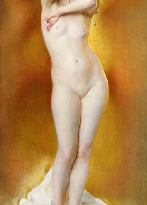 Female Greeting Card featuring the painting Glow Of Gold Gleam Of Pearl by William McGregor Paxton