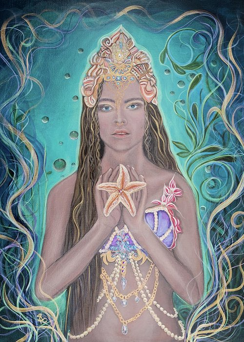 Goddess Greeting Card featuring the painting Goddess Of The Sea by Angel Fritz