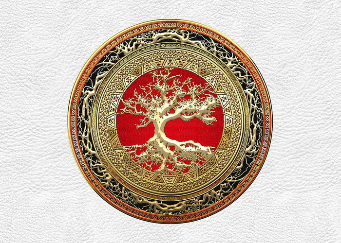 Treasure Trove By By Serge Averbukh Greeting Card featuring the photograph Gold Celtic Tree of Life on White Leather by Serge Averbukh