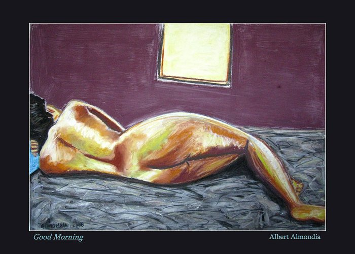 Figure Greeting Card featuring the painting Good Morning by Albert Almondia