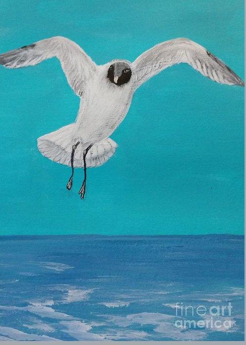 Birds Ocean Seabirds Water Landings Gracefully Greeting Card featuring the painting Graceful Landing by Nancy Turner