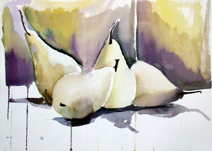 Pears Greeting Card featuring the painting Graceful Pears by Mindy Newman