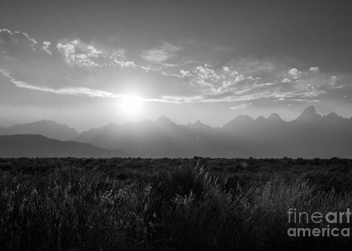 Grand Teton Greeting Card featuring the photograph Grand Teton Hazy Sunset by Michael Ver Sprill