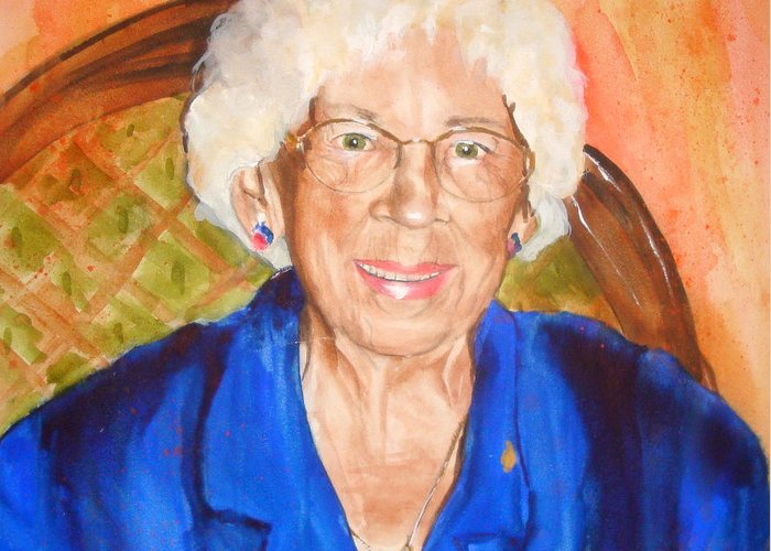 Portrait Greeting Card featuring the painting Granny by Jean Blackmer