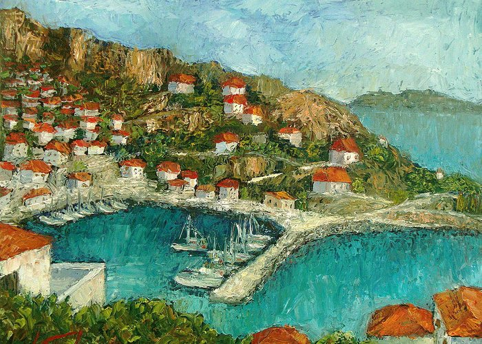 Island Greeting Card featuring the painting Greek Island by Ioulia Sotiriou
