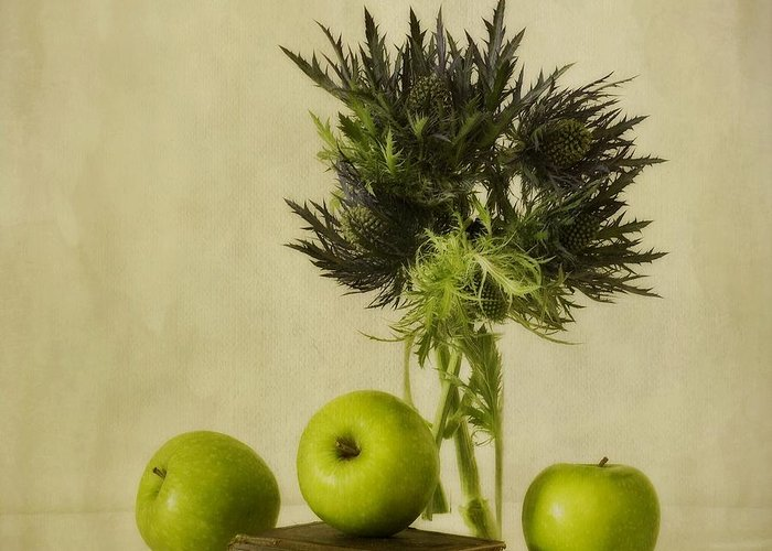 Apples Greeting Card featuring the photograph Green Apples And Blue Thistles by Priska Wettstein