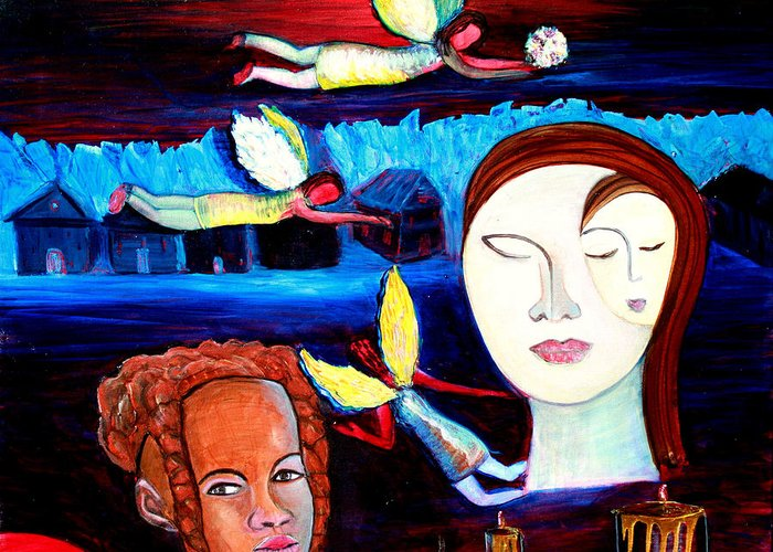 Angels Greeting Card featuring the painting Guardian Angels by Pilar Martinez-Byrne