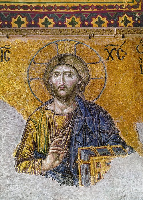 13th Century Greeting Card featuring the photograph Hagia Sophia: Mosaic by Granger