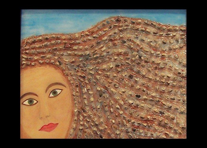 Berlin Wall Greeting Card featuring the painting Hair by Anneliese Fritts