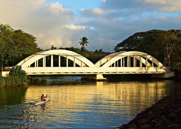 Haleiwa Bridge Greeting Card featuring the photograph Haleiwa Bridge by Paul Topp