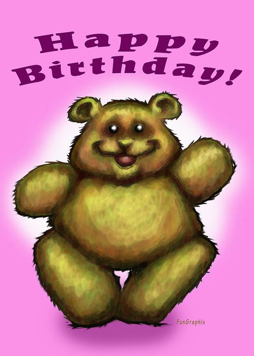 Pink Greeting Card featuring the greeting card Happy Birthday Bear by Kevin Middleton