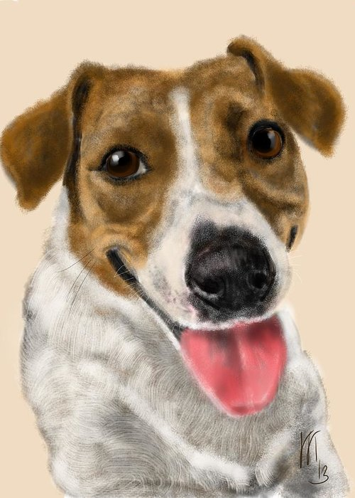 Animals Greeting Card featuring the painting Happy Dog by Lois Ivancin Tavaf