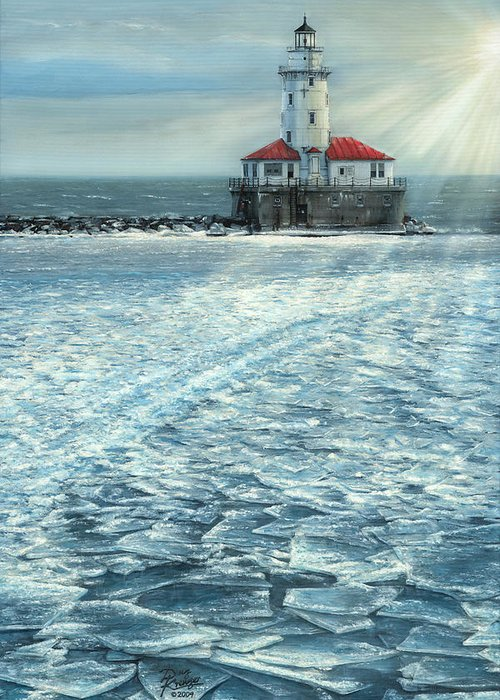 Fine Art Greeting Card featuring the painting Harbor Light by Doug Kreuger