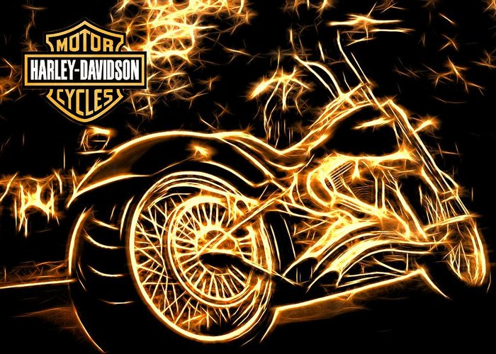 Harley-davidson Greeting Card featuring the photograph Harley-davidson by Aaron Berg