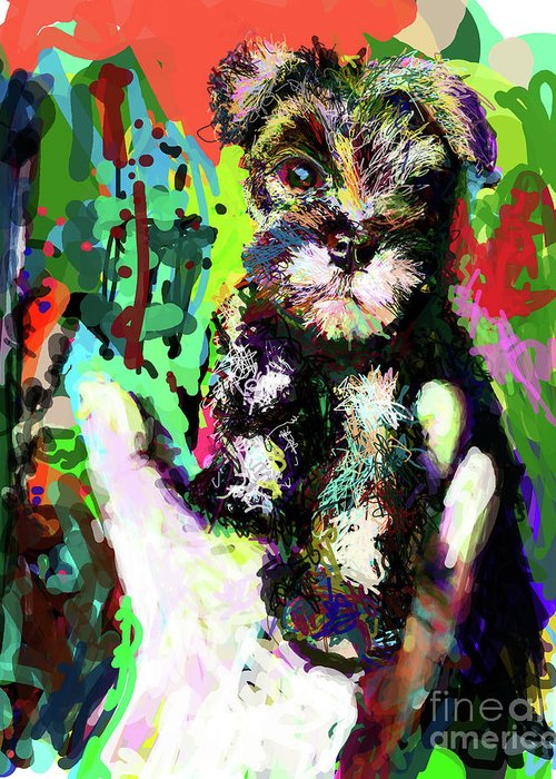 Schnauzer Greeting Card featuring the digital art Harley In Hand by James Thomas