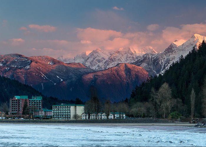 Accomodation Greeting Card featuring the photograph Harrison Hot Springs And Mount Cheam Range by Michael Russell