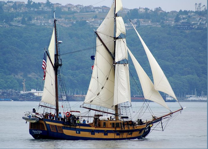 Tall Ships Greeting Card featuring the photograph Hawaiian Chieftan by Sonja Anderson