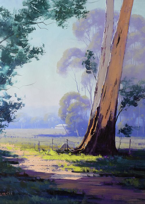Eucalyptus Trees Greeting Card featuring the painting Hazy Light Landscape by Graham Gercken
