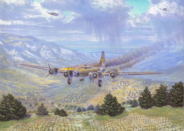 99th Bomb Group Greeting Card featuring the painting Her Majestys Last Landing by Scott Robertson