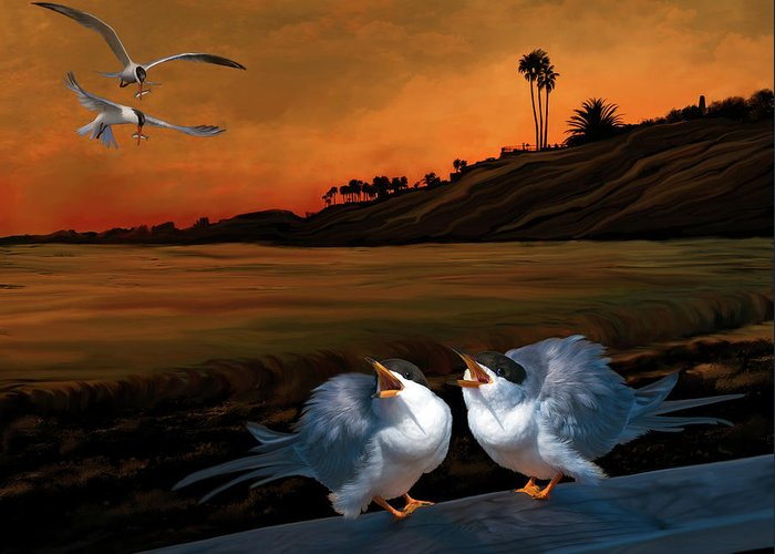 Tern Greeting Card featuring the digital art Here Comes Dinner by Thanh Thuy Nguyen