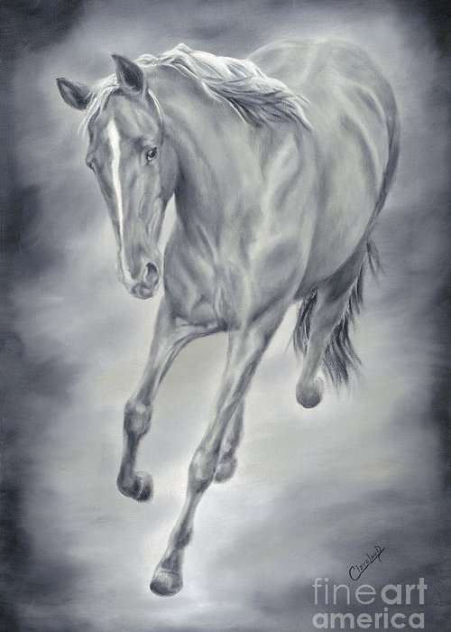 Horse Paintings Greeting Card featuring the painting Here She Comes by Cathy Cleveland
