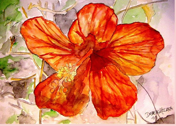 Hibiscus Greeting Card featuring the painting Hibiscus 2 by Derek Mccrea