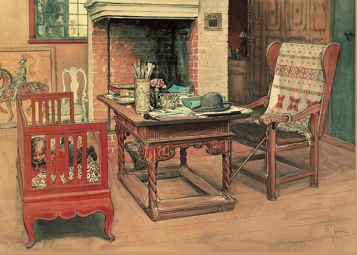 Oil Greeting Card featuring the painting Hide And Seek by Carl Larsson