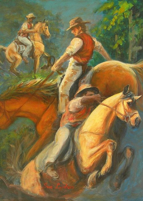 Horses Greeting Card featuring the painting High Country Riding by Sue Linton