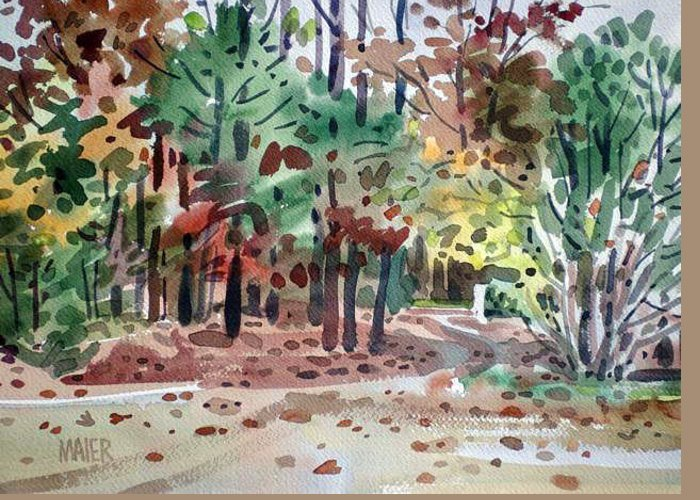 Autumn Foliage Greeting Card featuring the painting High Ridge Drive by Donald Maier