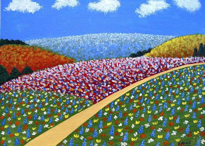 Landscape Paintings Greeting Card featuring the painting Hills Of Flowers by Frederic Kohli