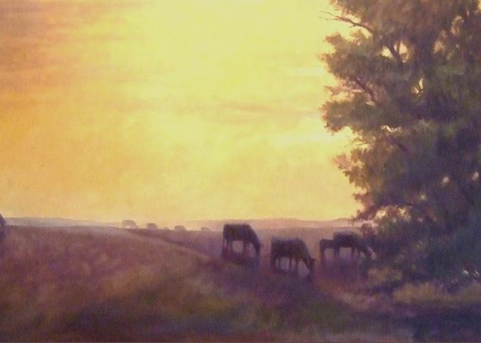 Landscape Greeting Card featuring the painting Hillside Silhouettes by Ruth Stromswold