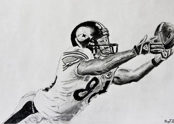 Drawing Greeting Card featuring the drawing Hines Ward Diving Catch by Bryant Luchs