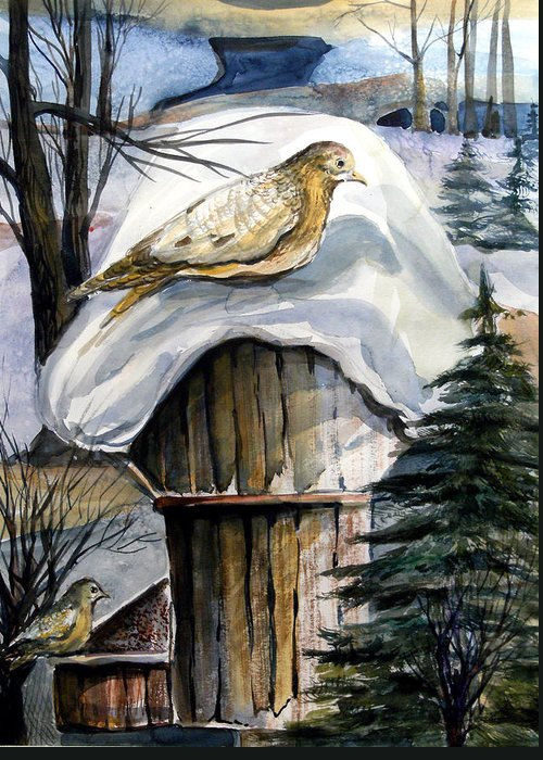 Bird Greeting Card featuring the painting His Eye Is On The Sparrow by Mindy Newman