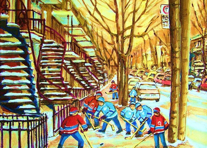 Montreal Greeting Card featuring the painting Hockey Game Near Winding Staircases by Carole Spandau