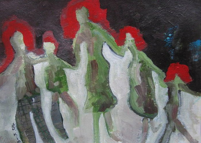 Abstract Paintings Greeting Card featuring the painting Holding Hands by Seon-Jeong Kim