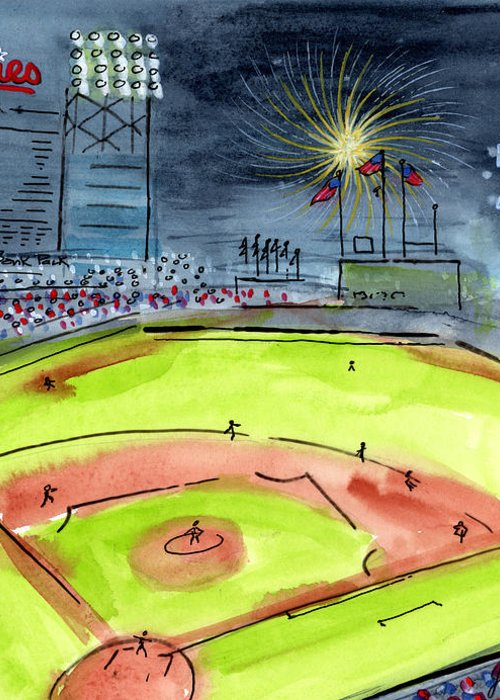 Baseball Greeting Card featuring the painting Home Of The Philadelphia Phillies by Jeanne Rehrig