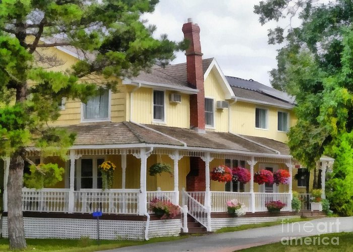 Traditional; House; Home; Prince Edward Island; Pei; Canada; Yellow; Porch; House; New; Exterior; Sale; Front; Suburban; Siding; Home; Door; Driveway; Landscaping; Customized; America; Lawn; Property; Estate; Luxury; Upscale; Suburb; Traditional; Custom; Architecture; Real; Sky; Yard; Residence; Residential; Large; Construction; Structure; American Greeting Card featuring the painting Home Sweet Home by Edward Fielding